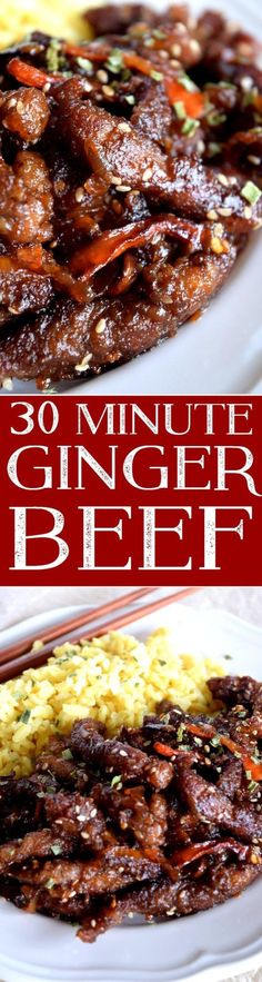 A 30 minute asian inspired ginger beef recipe-a weeknight dinner that is gourmet quality !