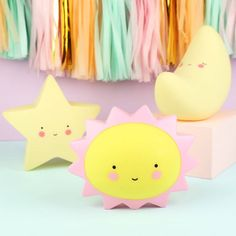 A range of adorable night lights in the shape of cute night time friends.Please note: price indicated is for one lamp only. With free UK delivery on everything, and no minimum spending limit. Keep your kids feeling cosy and safe by putting one of these cute night lights in their room. Choose from either a sun, moon, star or cloud to gently glow in their bedroom once the lights are out! Each light has a sweet smiling face printed onto it, and the lamps can be switched on and off via a switch…