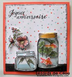 On s'accroche j'ai presque fini le mois. Carte envoyée à ma filleule SU, Armelle (#31) Elle avait adoré ma carte pots de peinture alors je lui en ai concocté une avec les pots… ma…