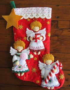 Bucilla dulces Ángeles 18 terminado por MissingSockStitchery Merry Stockings, Cute Christmas Stockings, Felt Christmas Ornaments, Christmas Angels, Handmade Christmas, Christmas Poinsettia, Xmas Crafts, Felt Crafts, Fabric Ornaments