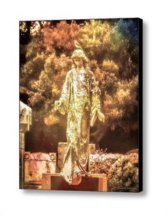 Surreal Cemetery Angel with Bird, Colorful Dreamlike Landscape Photographic Art 8x10 16 x 20  24 x 30 Gallery Wrap Canvas Art FREE SHIP USA