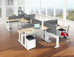 Modern Sit Stand Workstations Office Furniture In 2019 Modular Hall Tree Storage Bench, Cubicle Design, Sit Stand Workstation, Contemporary Office, Modern, Office Workstations, Adjustable Height Desk, Cata, Home Office Design