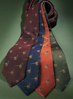 Silk Woven Ties with a Pheasant Motif