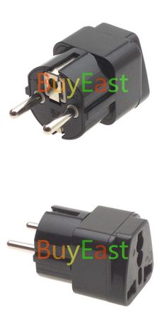 [Visit to Buy] 2 x Universal to Schuko Germany France Travel Adapter AC Power Plug Black Color #Advertisement