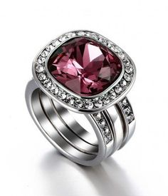 #followbest.com           #ring                     #MELIFA #Pink #Crystal #Stacked #Ring               MELIFA Pink Crystal Stacked Ring                                              http://www.seapai.com/product.aspx?PID=1466962
