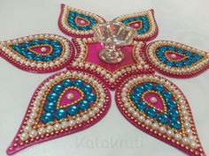 Acrylic Indian Rangoli with attached votive holder - Heart shape