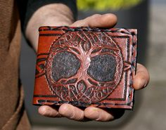 Men& Wallet-Men& Leather Wallet-Tree of Life-Leather Wallets-Men& Tooled Leather Wallet-Mens Celtic Wallet- Leather Wallet-Leather Wallet Leather Dye, Tooled Leather, Leather Bags, Leather Tooling Patterns, Leather Projects, Leather Crafts, Leather Carving, Leather Wallets, Mens Fashion