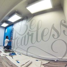 52 Ideas Wall Murals Typography Hand Lettering For 2019 Office Mural, Office Walls, Office Wall Art, Environmental Graphics, Environmental Design, Tanzstudio Design, Graphic Design, Dance Studio Design, School Murals