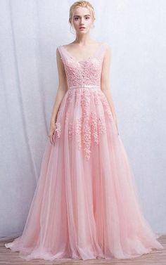 9f1e92d0c19 Sleeveless V-neck Long Appliques Tulle Dress-331209 Affordable Prom Dresses