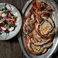 Real Porchetta with Roasted Beets, Grapefruit and Creme Fraiche   Recipe from the Slow Fires cookbook by Justin Smillie