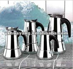 stainless steel coffee maker1:coffee+2cup/4cup/6cup/9cup 2:coffee pot and maker 3:made from stainless steel with black pp