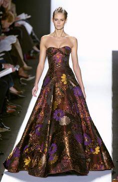 Oscar de la Renta Fall 2005 - strapless Burgundy gown with plum, rust, yellow floral print