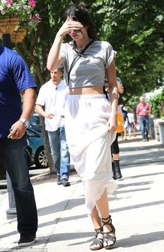 Effortlessly stylish: Kendall Jenner was the epitome of summer chic in her pretty ensemble as she stepped out to pick up some refreshing ice-cream treats in the Hamptons on Sunday with sister Kylie and family friend Malika Haqq