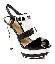Gianni Bini Mattee T-Strap Dress Sandals Fab Shoes, Crazy Shoes, Me Too Shoes, Awesome Shoes, Black And White Sandals, Ivory Shoes, Cute Sneakers, Dress Sandals, Heeled Sandals