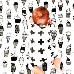 For monochrome lovers - Modern Burlap Ice Cream Love Muslin Swaddle Blanket