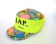 Neon 90s Surf Cycling Cap by ACTUALTEEN on Etsy, $15.00