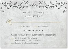 Beaded Flair Signature White Wedding Response Cards Marchesa