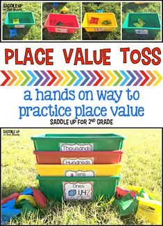 Teaching math - Place Value Toss – Teaching math Teaching Place Values, Teaching Math, Math Teacher, Teaching Ideas, Teaching Multiplication, Teaching Time, Creative Teaching, Maths 3e, Mathematics Games