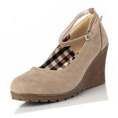 Spring Autumn Solid Shoes Woman Wedges Pumps Platform Nubuck Casual Women Shoes Fashion Ladies Ankle Strap Dress Shoes 5 Colors