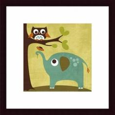 @Overstock - Nancy Lee 'Owl and Elephant' Framed Print - Artist: Nancy LeeTitle: Owl and ElephantProduct type: Framed print    http://www.overstock.com/Home-Garden/Nancy-Lee-Owl-and-Elephant-Framed-Print/6611102/product.html?CID=214117  $78.99
