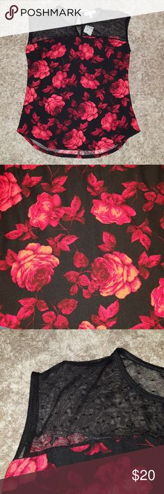 🎀HOST PICK💓NWT Red Rose sleeveless top! NWT! Small top. Detailed with red roses and sheer black lace at the top. Button closure behind neck. Tops