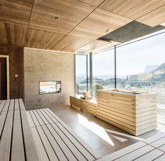 La nostra sauna finlandese con vista sulle montagne