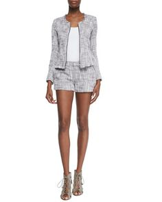 Collis Fringe-Trim Tweed Jacket & Merci Structured Tweed Shorts by Joie at Bergdorf Goodman.