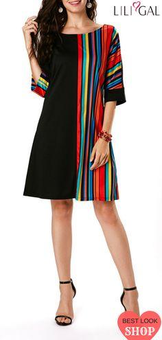 Stripe Print Half Sleeve Black Dress   #liligal #dresses #womenswear #womensfashion