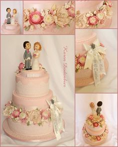 Pink Wedding Cake With Peonies And Ranunculus Pink wedding cake with Peonies and Ranunculus. The day I had to make this cake we had 97%...