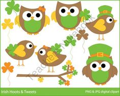 Irish Hoots & Tweets Clipart product from Digital-Bake-Shop on TeachersNotebook.com