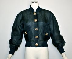 Vintage MOSCHINO CHEAP and CHIC Sheer Black Silk Gold Button Bomber Jacket