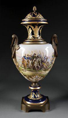 "A ""Sevres"" Gilt Bronze-Mounted Cobalt Blue Urn : Lot 164"