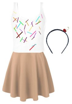 """DYI- Ice Cream Costume"" by rainbopanda ❤ liked on Polyvore featuring Brooks Brothers"