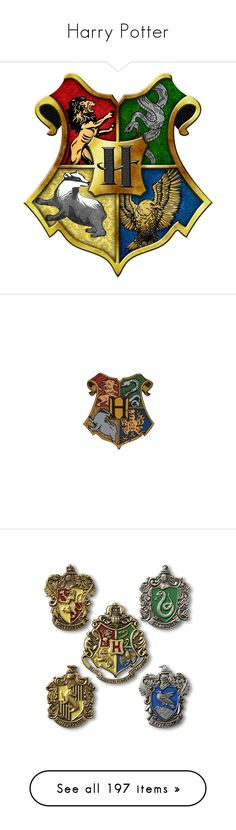 """Harry Potter"" by canadian-necromancer ❤ liked on Polyvore featuring harry potter, hogwarts, filler, gryffindor, hufflepuff, backgrounds, accessories, other, pins and fillers"