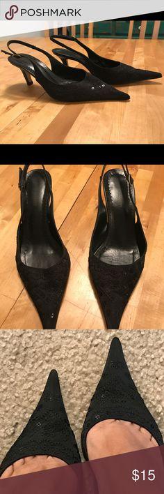 Black pointy dressy shoes. Black sequins in great shape. I used it once for a wedding. Please see picture with the scratched heel. All sequins are in place. Accepting offers. Shoes Heels