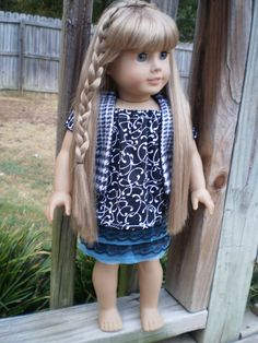 """American Girl Doll Clothes, 18"""" Doll Skirt Shirt & Vest, Black White and blue, Back to School doll Clothes, Handmade 18"""" Doll Clothes - pinned by pin4etsy.com"""