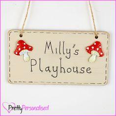 Kids Playhouse Hanging Door Sign - Childrens Wendy House Den Plaque Sign Garden