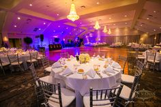 Up-lighting is a beautiful enhancement to Grand Ballroom receptions!   Springfield Country Club   Photo: Ron Solimon Photojournalism