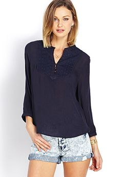 Embroidered Peasant-Style Top | FOREVER 21 - 2000072117
