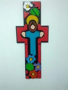 Resultado de imagen para cruces de madera pintadas a mano para niños