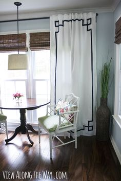 DIY no-sew Greek key curtain panels - wall color, Ikea curtains, bamboo shades. Plain Curtains, Tab Top Curtains, Lined Curtains, White Curtains, Floral Curtains, Bedroom Curtains, Living Room Blinds, House Blinds, Knock Off Decor
