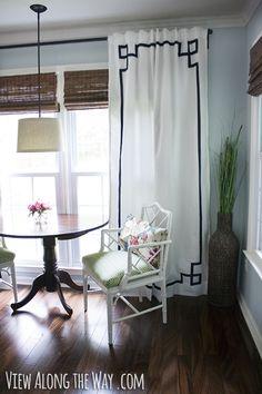 DIY no-sew Greek key curtain panels @viewalongtheway