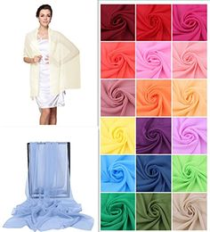 Dressystar Chiffon Bridal Evening Shawls Scarves Many Colors Available