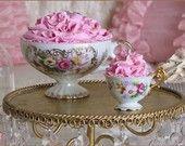 pink rose pedals in vintage porcelain