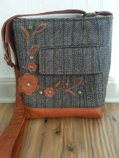 Brown wool crossbody bag hip bag felted bag by BirdOnAWireBags