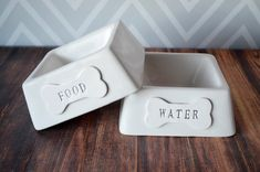 Personalized Square Food or Water Dog Bowl   by Susabellas on Etsy #petgifts