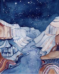 Buy a print — Rhiannon Klee Art Watercolor Landscape Paintings, Landscape Art, Watercolor Paintings, Landscape Photos, Landscape Photography, Gouache, Illustrations, Illustration Art, Painting Inspiration