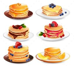 Buy Maple Pancakes Isolated Set by macrovector on GraphicRiver. Maple syrup pancakes set of six isolated dish images with different ingredients berries and fruit slices vector illus. Cute Food Art, Cute Art, Pancake Drawing, Cute Food Drawings, Fruit Slice, Food Illustrations, Dessert Recipes, Desserts, Confectionery