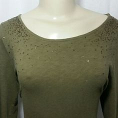 J crew sequined shirt J crew sequined shirt. Olive colored. Sequins on chest. 3/4 sleeves fitted J. Crew Tops Tees - Long Sleeve