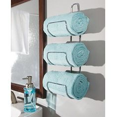 mDesign Metal Wall Mount Hanging Towel Storage Rack, Bronze, x x Pack of 2 Bathroom Towel Storage, Diy Bathroom Decor, Bathroom Towels, Bath Towels, Bathroom Organisers, Bathroom Ideas, Bath Towel Racks, Pool Towels, Bathroom Designs